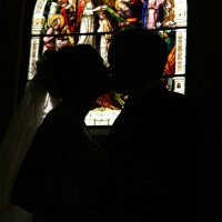Bride and Groom in Silhouette