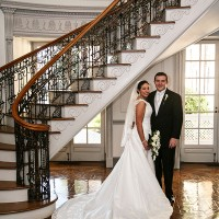 Bride and Groom under the staircase as PSU