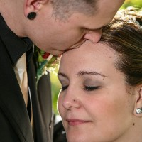 A tender moment with a kiss