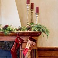 Markel Building, Hazleton, PA interior photo showing wood work detail around fireplace at Christmas time